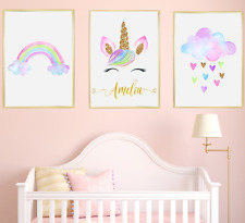 Unicorn Personalised Name Nursery Prints Set Baby Bedroom Art Of 3 Pictures