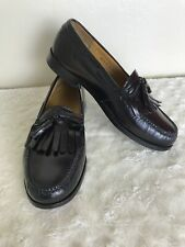 COLE HAAN Men's 10M 3E Burgundy Leather Kiltie Tassel Loafers MINT