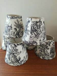 VTG Set 6 Lampshade French Country Toile Black Ivory Bulb Clip Countryside