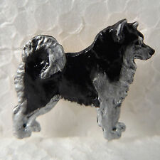 Alaskan Malamute Black White Lapel Pin Dog Breed Jewellery Handpainted