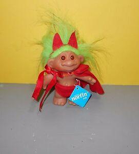 Older Norfin Lil Devil Troll Doll w /Tag - Style 5421 Green Hair Dam Denmark