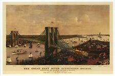 The Great East River Suspension Bridge New York City NY, Ships - Modern Postcard