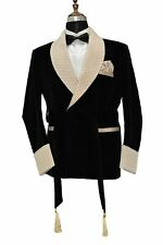 Men Jacket Velvet Blazer Champagne Shawl Lapel Smoking Coat Party Prom Wear Suit