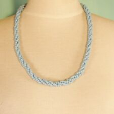 "24"" Light Blue Twisted Rope Chain Handmade Seed Bead Statement Necklace"