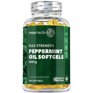 Peppermint Oil 365 Softgels 200mg Capsules for Stomach Bloating & Bowel Relief