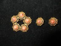 Sarah Cov Signed Vintage Set Brooch Pin Earrings Beaded Pink Stone Rock Gold
