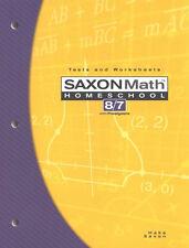 Saxon Math 87 8/7: Homeschool Tests and Worksheets Book Grade 7 3rd Edition NEW!