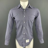 THOM BROWNE Size L White & Blue Gingham Cotton Button Down Long Sleeve Shirt