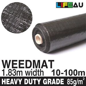 1.83m Weedmat Weed Control Mat Woven Fabric Gardening Plant 30m/50m/70m/100m