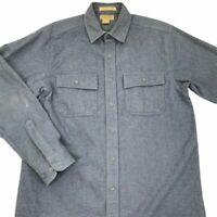 L.L. Bean Mens Chamois Button Front Shirt Blue Heathered Long Sleeve Tall M