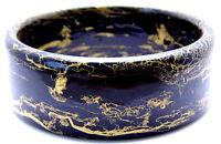 """Vintage 10.5"""" Wide Bangle Bracelet Plastic Black w/Gold Tone Splatter Design"""