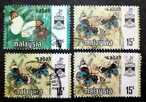 Malaysia 1971 Butterflies Sabah State Loose Set Up To 15c  - 4v Used #2