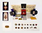 Incredible Freemason Lot - Antique Masonic 32 & 33 Degree 14K Jewels, Pins, Ring