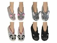 Womens 3D Fun Slippers with Grippers Velvet Shimmer with Fur Lining Size 4-7