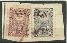 Turkey 2 Old Ottoman Revenue Fiscal Stamps  on Cutout