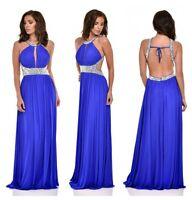 BLUE CRYSTAL DIAMANTE BACKLESS GRECIAN PARTY PROM BRIDESMAID MAXI DRESS 8-16
