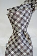 """$250 NWT TOM FORD Brown Ivory Gingham check 3.75"""" woven silk tie Made in Italy"""