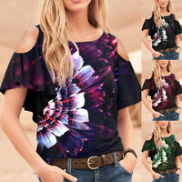 ️ Women Cold Shoulder Boho Floral T-Shirt Casual Short Sleeve Blouse Tunic Tops