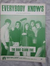 VINTAGE SHEET MUSIC DAVE CLARK FIVE  EVERYBODY KNOWS near mint glossy finish