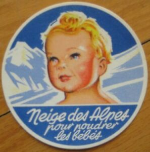 'Neige des Alpes' 1930s French Baby Powder Label - 100 PIECES - Color Litho