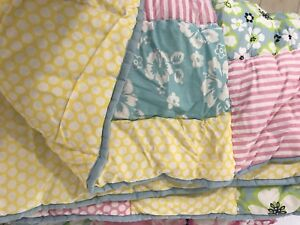 Pottery Barn Kids Twin Size Daisy Garden Colorful Cute Quilt Hand Quilted
