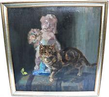Künstlerische Malerein mit Katzen-Motiv als Original der Zeit von 1950-1999