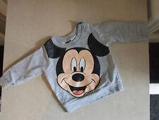Disney Original Baby Boy 6-9m Months Cute Warm Grey Mickey Mouse Sweatshirt Top