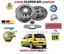 FOR SKODA CITIGO 1.0 2011-> NEW 4 PIECE CLUTCH KIT 5 SPEED MANUAL GEARBOX
