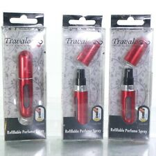 3 Travalo Red Refillable Mini Perfume Bottle Spray 0.13oz Aircraft Approved+gif