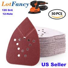 50X 120 Grit Sanding Sheets Sandpaper Mouse Palm Sander Paper 12 Holes Hook Loop