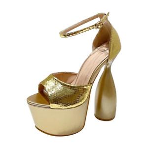 Women Super High Heel Platform Sandals Gold Ankle Strap Peep Toe Party Clubwear