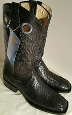 MEN'S COWBOY WESTERN EXOTIC BOOTS PYTHON SKIN SQUARE TOE RODEO BLACK SIZE 9.5