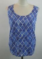 Isaac Mizrahi Tile Print Sweater Knit Tank Top S Blue NEW A233210 Small