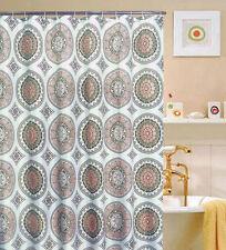 "Circle Geometric Eclipse Medallion Print Fabric Shower Bathroom Curtain, 70""x70"""