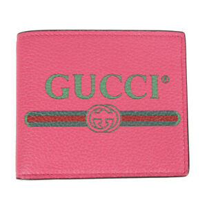 NEW $550 GUCCI Pink Pebble Leather 80'S PRINTED LOGO WEB Bi-Fold WALLET Unisex