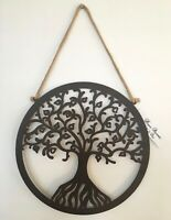 30cm Round Hanging Tree of Life Wall Art Metal with Rope Hanger indoor outdoor