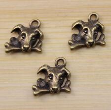20 pcs Retro Very lovely Auspicious bronze dog a bone charm pendant 15x15 mm