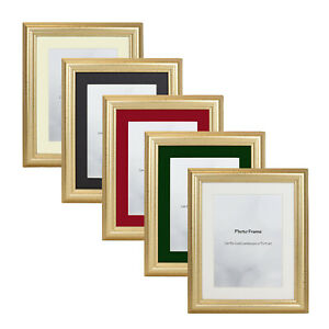 Gold Picture Photo Frame With Mount Various Colours 10x8 A3 A4 40x30 Square
