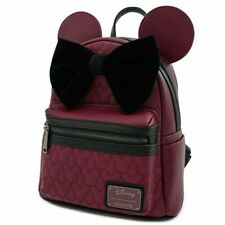 Official Loungefly Disney Minnie Mouse Maroon Quilted Mini Backpack Bag