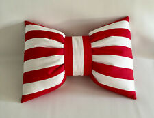 NEW Red and White Stripe Bow Shaped Cotton Lumbar Throw Pillow