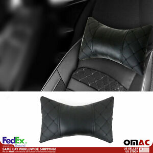 1x Car Seat Neck Pillow Head Shoulder Rest Pad PU Leather Black