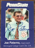 Joe Paterno Signed Autographed 2001 Second Mile Penn State Nittany Lions Card