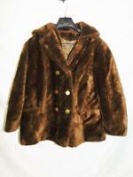 Vintage 70s L XL Brown Faux Fur Coat Fleece Jacket Peacoat Gold Tone Buttons