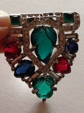 KTF Signed Early Trifari Brooch Fruit Salad Carved Molded Colorful Glass Leaves