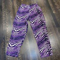 ZUBAZ Pants Zebra Print workout parachute Neon Purple Baggy VTG 80s 90s MENS XL