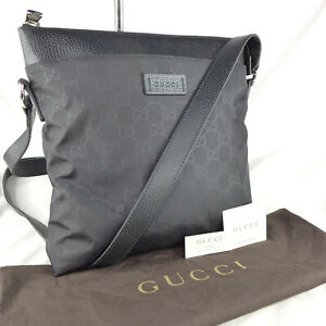 Authentic Gucci Black Nylon GG Guccissima Crossbody Messenger Shoulder Bag ExCon