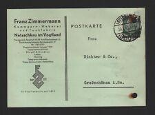 NETZSCHKAU, Postkarte 1941, Franz Zimmermann Kammgarn-Weberei