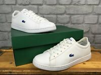 LACOSTE UK 5.5 EU 39  CARNABY EVO WHITE NAVY LEATHER TRAINERS CHILDRENS LADIES G