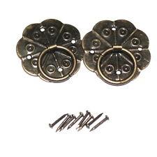 Paire de 29 mm Bronze Tone Poignées à anneau | Fleur Forme Plaque Arrière | avec clous