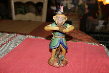 Majolica Monkey Playing Flute Instrument-Pottery-Signed Bottom-Asian Chinese